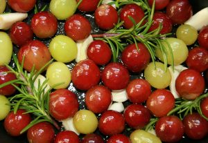 roasted grapes, grapes, roasted fruit dishes, italian recipes, mary beth clark