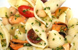 pasta salad, mussels