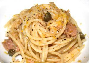 spaghetti, tuna, capers,