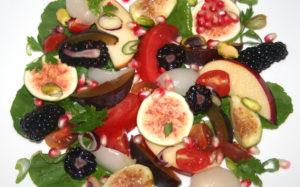Fresh Plum, Fig, and Tomato Salad, Honey Vinegar Dressing