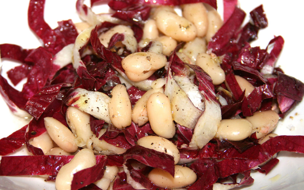 Warm Cannellini Beans with Red Radicchio Trevisano in Vinaigrette