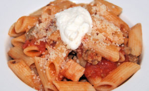 roast turkey ragu with nduja, sausage, ricotta