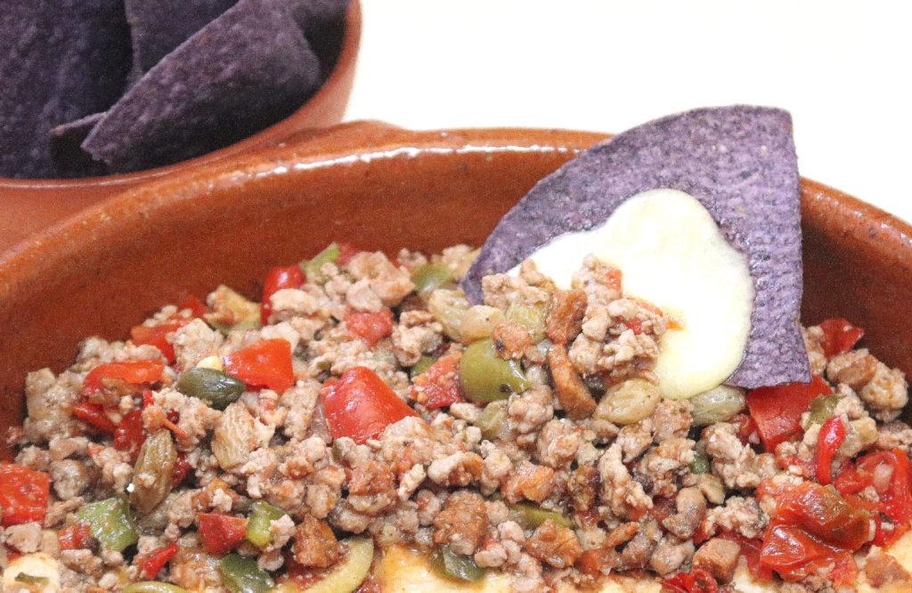 Picadillo with Blue Corn Tortilla Chips