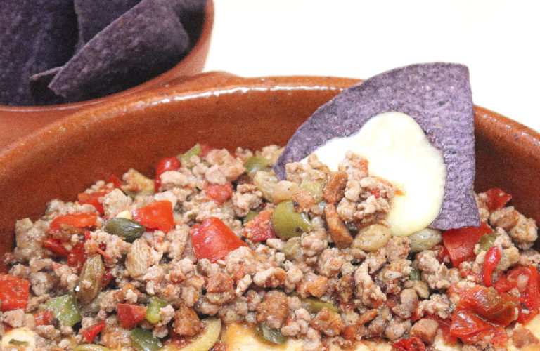Picadillo with Blue Corn Tortilla Chips