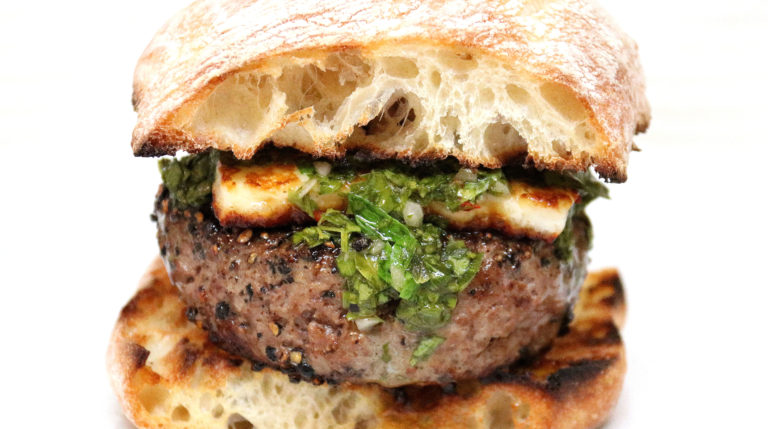 Lamb Burgers with Harissa, Halloumi Cheese, and Chimichurri Sauce