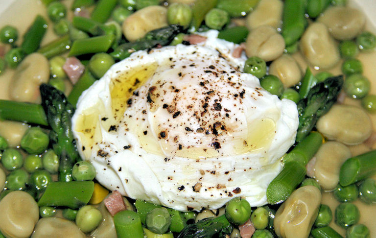 Poached Egg and Asparagus with Fava Beans, Peas, Prosciutto Crudo - IMG_9950 - 3 - 1170