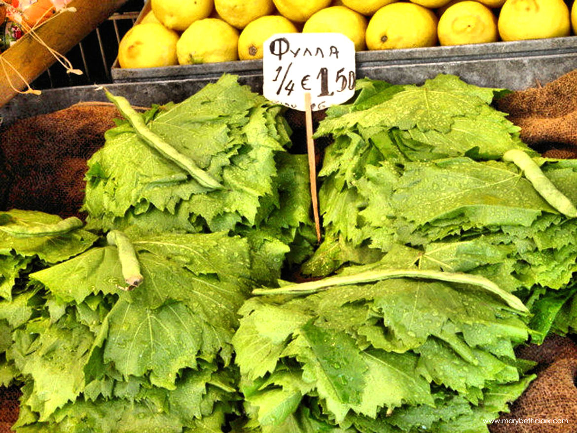 Travel - Greece - Athens - Athens Central Market: Fresh Grape Leaves