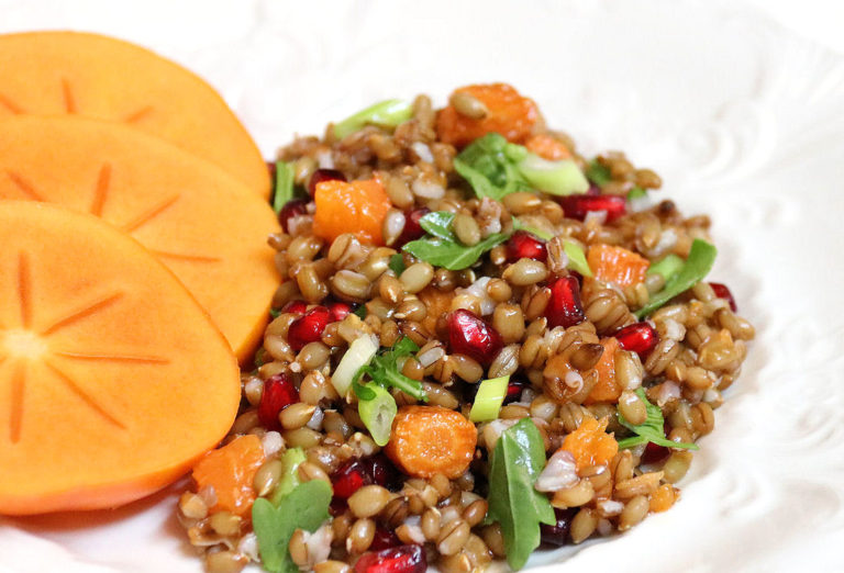 Rye Berry Salad with Roasted Carrots and Squash, Pomegranate Seeds, Arugula, and Persimmon