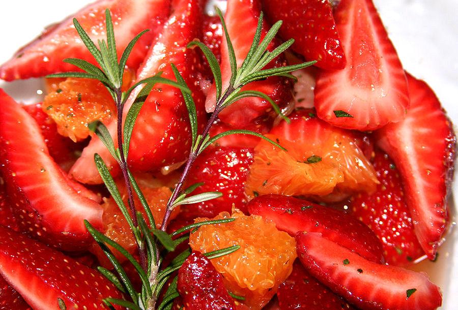 Strawberry and Orange Macedonia with Fresh Rosemary