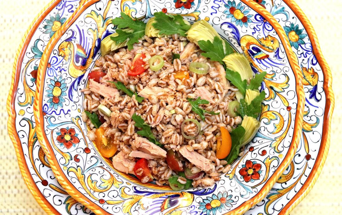 Farro Salad with Tuna, Artichoke Hearts, Cherry Tomatoes, Arugula - 1180