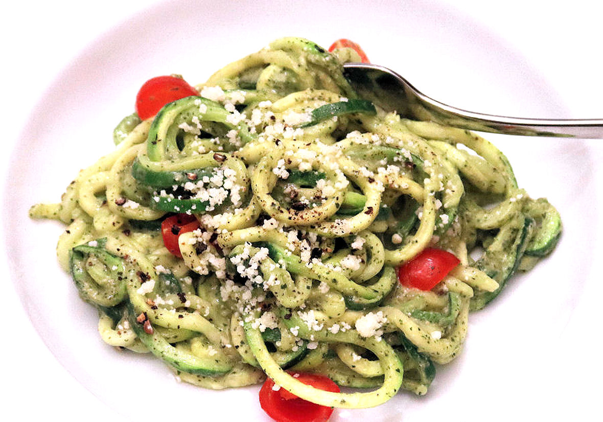 Spiralized Zucchini with Avocado Pesto and Cherry Tomatoes - 1180 pixels